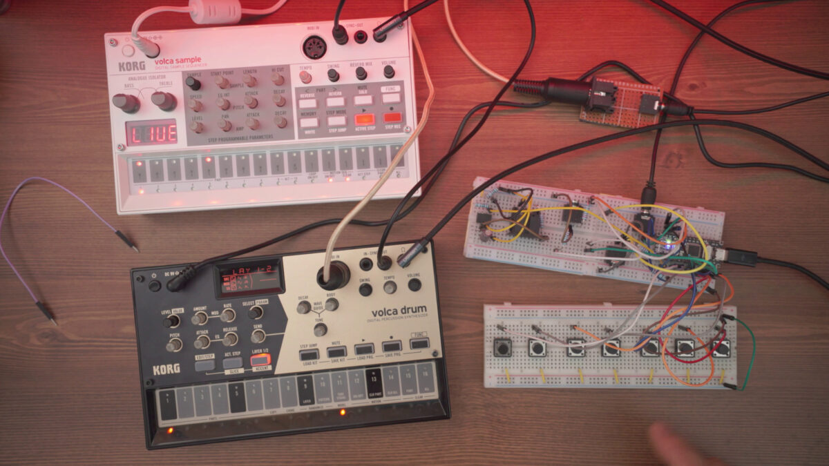Volca Drum + DIY Arduino Midi Clock + Effects